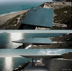 (concept) An infinity pool will form the roof of this cavernous house designed by Athens studio Kois Associated Architects for the Greek island of Tinos