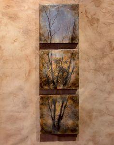 Encaustic photograph  Tree Triptych by EncausticsbyGretchen