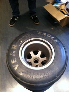 Original Formula One wheel and slick tyre. Used by the Fondmetal team in formula one.