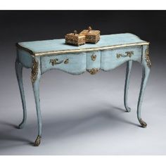 French Blue Console Table by Butler. This accent table is hand painted with gold highlights on the edges. Antique brass finished hardware on the one drawer. Perfect in the foyer, bedroom or great room. Wood Furniture Living Room, French Furniture, Paint Furniture, Furniture Makeover, Vintage Furniture, Country Furniture, French Decor, French Country Decorating, French Country Bedding
