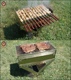 11x21 Portable Charcoal Mangal Shish Kebab Kabob BBQ Stainless Steel Grill   eBay