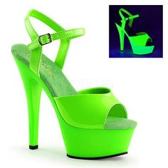 "Sexy Stripper Dancer 6"" High Heel Platform Green Neon UV Reactive Shoes Sandals"