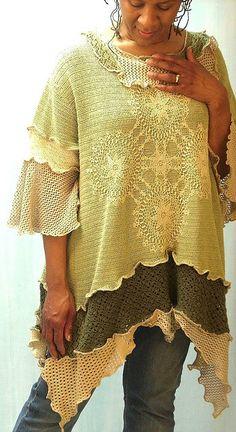 Sage & Beige Crochet Tunic