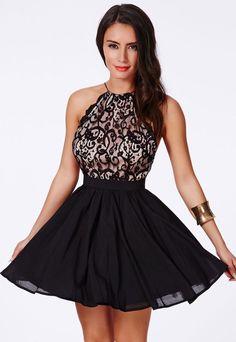 Sexy Damen Spitzenkleid Minikleid Cocktailkleid Partykleid Abendkleid,Größe S