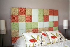 Home-Dzine - Make a beautiful patchwork headboard  This beautiful patchwork headboard would look fantastic in a guest bedroom or children's bedroom. You can use colourful print or plain fabrics to coordinate the design of the patchwork to fit in with any existing decor - and this patchwork headboard is really simple to make...  http://www.home-dzine.co.za/bedroom/bedroom-patchwork.htm#