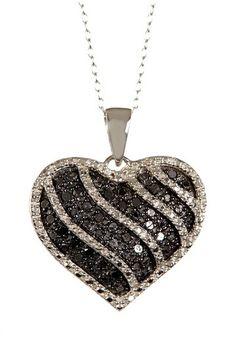 Black & White Diamond Heart Pendant Necklace - 0.65 ctw by Savvy Cie on @HauteLook