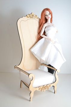 chair for Dolls 1/6 1:6 furniture Barbie FR extraordinary wooden