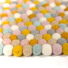 Olli Ella Felt Ball Rug - Gum Ball http://www.thebabycloset.com.au/rugs/olli-ella-felt-ball-rug--gum-ball-