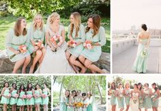 Sources (clockwise from top left): 1- Hello Studios via The Bride Link; 2- Judy Pak Photography/Ivy & Aster via Style Me Pretty; 3- Float Away Studios/ModCloth via Style Me Pretty; 4- Searching for the Light Photography via Glamour & Grace; 5- via The Knot | mint bridesmaid dresses #wedding