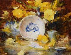 Fish Bowl and Yellow Pansies