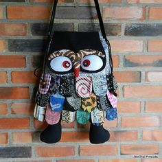 Thai Unique Hip Bag Owl Patchwork Sling by BenThaiProducts on Etsy, $19.99
