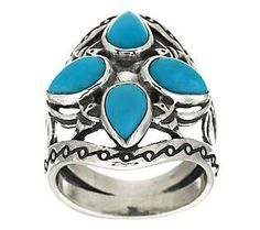 Sleeping Beauty Turquoise 4-Leaf Silver Ring by Kenneth Johnson at QVC.com
