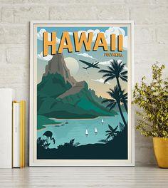 Hawaii Vintage Travel Poster Travel Decoration Wall Art