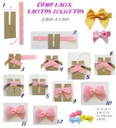 cosiendolunares - costura y patchwork: tutorial Ribbon Hair Bows, Diy Hair Bows, Diy Ribbon, Ribbon Crafts, Diy Crafts, Dog Bows, Baby Bows, Diy Paso A Paso, Hair Bow Tutorial