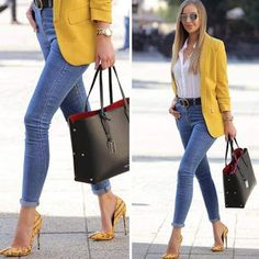 2019 Street Fashion's Most Stylish Outfit Combinations Blue Skinny Jeans Pants White Shirt Yellow Jacket Yellow Stiletto Shoes - Summer Work Outfits Summer Work Outfits, Casual Work Outfits, Office Outfits, Work Casual, Casual Chic, Stylish Outfits, Classy Chic, Outfit Work, Classy Jeans Outfit