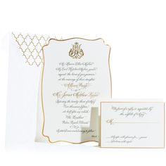 custom wedding invitation with scalloped, beveled edges, engraved calligraphy