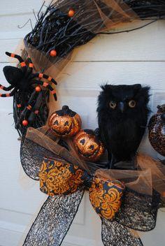 Midnight Owl  Halloween Wreath  Halloween by YourDecoratedDoor, $40.00