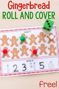 Gingerbread Roll and Cover Mats - Fun Learning for Kids - Gingerbread number sense activity mats for kindergarten and preschool. Preschool Christmas Activities, Gingerbread Man Activities, Preschool Themes, Kindergarten Activities, Preschool Activities, Gingerbread Houses, Gingerbread Cookies, Christmas Math, Noel Christmas