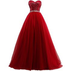 Fanciest Women's Sweet 16 Tulle Sequin Ball Gown Prom Dresses for... ❤ liked on Polyvore featuring dresses, gowns, sequin evening gowns, red evening gowns, tulle gown, sequin dresses and red sequin dress