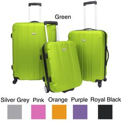 Make a bold statement with your baggage with this three-piece hardside spinner luggage set. Available in a variety of colors to match your personal style, these spacious bags will save you energy when pulling them and will stand out at baggage claim.