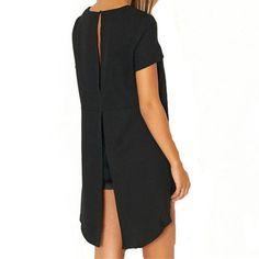 Blusas Women Blouse Chiffon Split Backless Short Sleeve Casual Blouse Loose Irregular Hem Tops