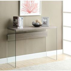 Dark Taupe Reclaimed-Look/Tempered Glass Sofa Table