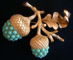 Vintage Trifari acorn brooch. by lauren