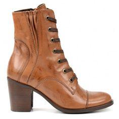 Boots à lacets dames à talon cubain cognac