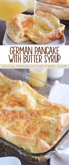 German Pancake {Whole Grain Option} with Butter Syrup