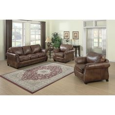 Sterling Cognac Brown Italian Leather Sofa and Loveseat | Overstock.com Shopping - The Best Deals on Sofas & Loveseats