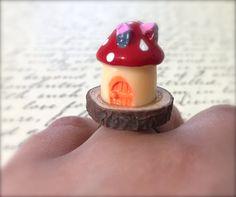 Miniature Mushroom House Ring. Wood Ring. Cute by MintMarbles