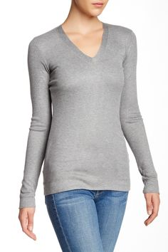 Long Sleeve V-Neck Rib Knit Tee by Heather By Bordeaux on Classic Looks, V Neck Tops, Pullover Sweaters, Rib Knit, Bordeaux, My Style, Tees, Long Sleeve, Sleeves