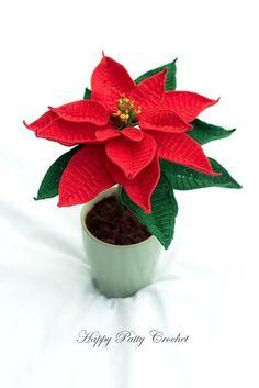Crochet Christmas Flower Pattern Crochet por HappyPattyCrochet                                                                                                                                                                                 Más