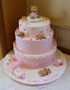 Battesimo bimba Princess Bridal Showers, Strawberry Whipped Cream, Teddy Bear Cakes, Girly Cakes, Couture Cakes, Chocolate Strawberries, Cake Decorating Tutorials, First Birthday Cakes, Baby Shower Cakes