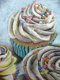 Large Scale Food Drawings influenced by Wayne Thiebaud - we could bring in party food and get to eat it at the end of the lesson (post photographing and gridding) yr 9-10