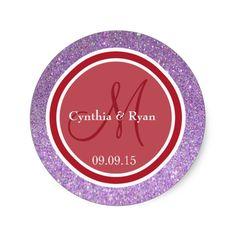 Purple Glitter and Red Wedding Monogram Classic Round Sticker