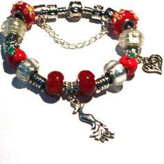 Paradise Charm Bracelet in Red  Temptation  Phoenix Bird