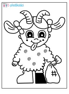 Omalovánka - čerti Winter Art, Winter Time, Coloring For Kids, Coloring Pages, Winter Christmas, Christmas Time, Saint Nicholas, Diy For Kids, Hello Kitty