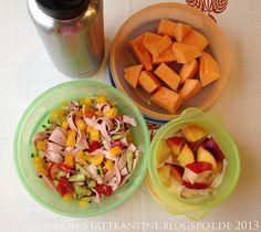 Stattkantine 25. Juni 2013 - Bunter Wurstsalat, Joghurt mit Nektarinen, Honigmelone