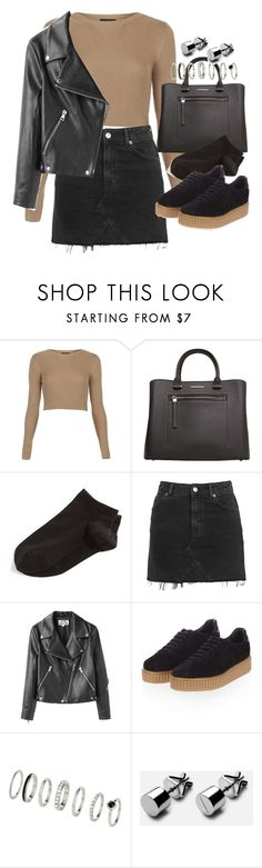 """""""outfit with a denim skirt and puma creepers"""" by ferned ❤ liked on Polyvore featuring Topshop, MANGO, Wolford and Acne Studios"""