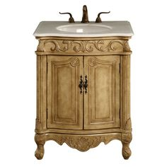 Bathroom Vanity Cabinet Copper Sink Top Foyer Antique Style Round - Round bathroom vanity cabinets