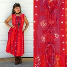 1970s Red Watercolor Boho Tent Dress Medieval by Enchantedfuture