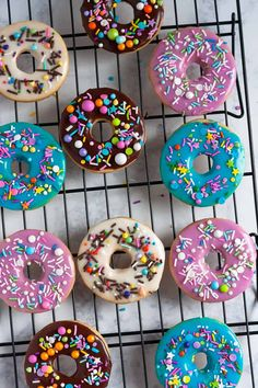 Whip up colorful iced sugar cookies in no time with this doughnut sugar cookie tutorial! So easy to make with an easy cookie glaze recipe. Easy Cupcake Recipes, Homemade Desserts, Cookie Recipes, Iced Sugar Cookies, Cupcake Cookies, Home Made Cupcakes, Cookie Glaze, Coconut Chutney, Cookie Tutorials
