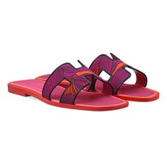"""Oran Hermes ladies' sandal in """"Iris"""" printed cotton canvas, leather sole and fuchsia lining Hermes Oran Sandals, Cute Shoes, Printed Cotton, Cotton Canvas, Shoe Bag, Sneakers, Travel Stuff, Canvas Leather, Stuff To Buy"""