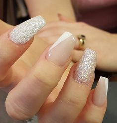 Simplicity is beauty they say. In this shiny and shimmering glitter plus naked nails with a little stripe of white, the saying is totally true.