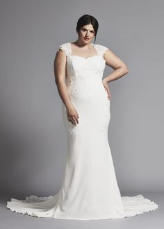 Cap Sleeve Crepe Sheath Wedding Dress on Kleinfeld Bridal Plus Size Bridal Dresses, Plus Wedding Dresses, Plus Size Wedding, Cap Sleeves, Ball Gowns, Bridesmaid, Sheath Dresses, Lace Dresses, Beaded Lace