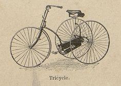 Tricycle. Gravure sur bois. Extrait de : Les Exercices du corps / Gaston Bonnefont, Paris, 1890.  http://www.babordnum.fr/viewer/show/604#page/n226/mode/1up