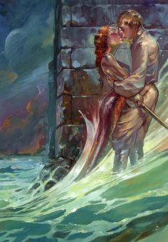 Love it's Love Love, Love it's Love Love...  By Kai Carpenter [http://kaicarpenterart.com/]  via http://conceptartworld.com/  #mermaid #knight