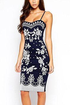 Floral Printing Midi Dress in Navy -YOINS