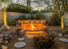Beautiful hardscaping and design for a backyard fire pit